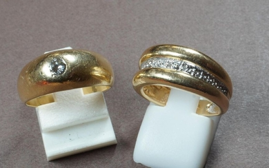 2 rings in yellow gold 750°/°°°