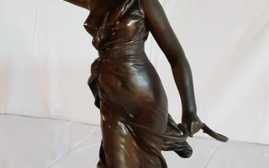 """21"""" SIGNED FRENCH BRONZE OF DIANA THE HUNTRESS"""