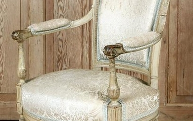 18TH CENT. LOUIS XVI STYLE FRENCH OPEN ARM CHAIR