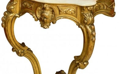 28032: A Louis XV-Style Carved Giltwood Console with Wh