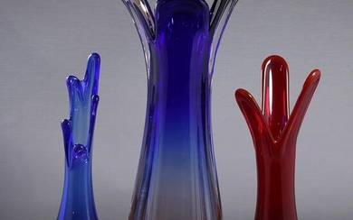 [3] Assorted Mid-Century Flower Form Color Glass Vases