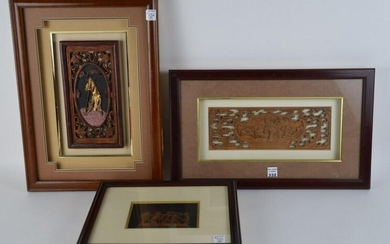 3 FRAMED CHINESE CARVINGS. ONE WITH EXPOT WAX SEAL AND