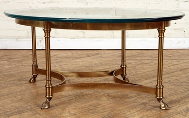MID CENTURY MODERN BRASS AND GLASS COFFEE TABLE