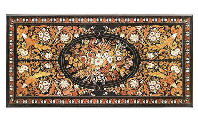 A Fine Florentine mid-19th century ebony, fruitwood, mother of pearl and ivory floral marquetry centre table