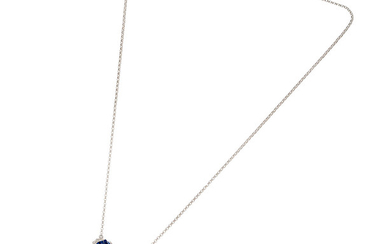 A sapphire and diamond butterfly pendant necklace