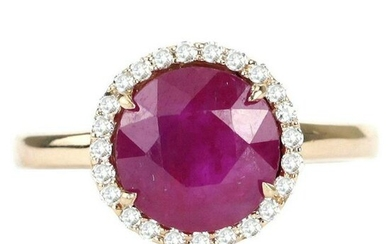3.43 tcw Ruby Natural Diamond Ring in 18K Rose Gold