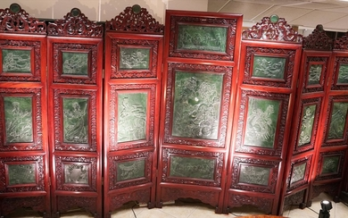 Chinese Carved Wood Jade Inset Seven Panel Screen PK1A