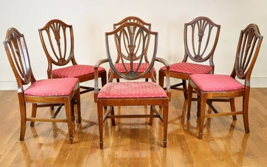 Six Circa 1900 Hepplewhite Dining Chairs