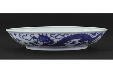 A Chinese Blue and White Porcelain 'Dragon' Dish.