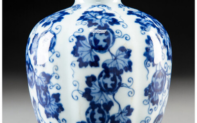 A Chinese Blue and White Porcelain Melon Jar
