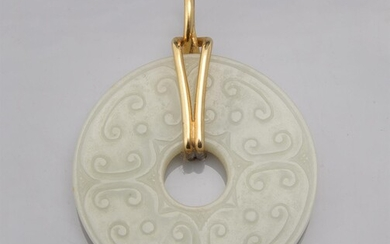 A Chinese white jade disc