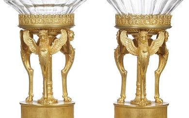 A FINE AND RARE PAIR OF REGENCY PERIOD NEOCLASSICAL GILT BRONZE TAZZA