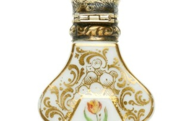 A FRENCH 19TH CENTURY PORCELAIN AND SILVER GILT SCENT BOTTLE