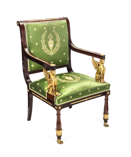 A French 19th century 'Empire' gilt bronze mounted fauteuil