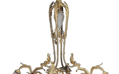 A French gilt bronze and frosted glass electrolier