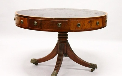 A GEORGE III MAHOGANY DRUM TABLE, with black leather