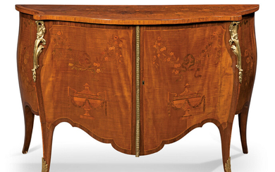A GEORGE III ORMOLU-MOUNTED HAREWOOD, AMARANTH AND MARQUETRY COMMODE