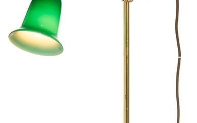 A MODERN ADJUSTABLE BRASS DESK LAMP WITH GREEN GLASS SHADE