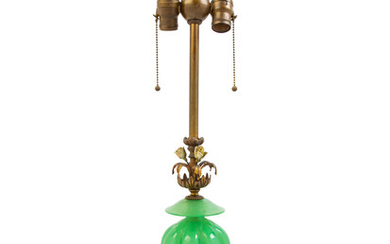 A Murano Glass, Bronze and Onyx Table Lamp