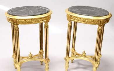 A PAIR OF FRENCH STYLE OVAL GILTWOOD OCCASIONAL TABLES,