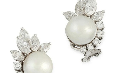 A PAIR OF NATURAL PEARL AND DIAMOND EARRINGS in 14ct