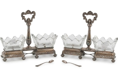 A PAIR OF SILVER SALTCELLARS - FRANCE 1819/1838