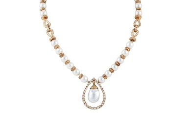 A PEARL AND DIAMOND NECKLACE, with gold and diamond spacers