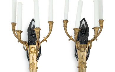A Pair of Empire Style Gilt and Patinated Bronze Four-Light Sconces