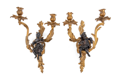 A Pair of Louis XV Style Gilt and Patinated Bronze Figural Two-Light Sconces