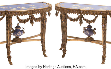 A Pair of Napoleon III-Style Gilt Bronze and Porcelain Demilune Console Tables