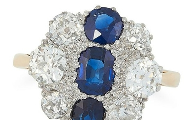 A SAPPHIRE AND DIAMOND DRESS RING, MID 20TH CENTURY in