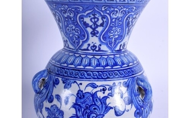 A TURKISH MIDDLE EASTERN BLUE AND WHITE POTTERY MOSQUE LAMP ...