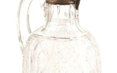 A Victorian silver-mounted cut glass claret jug, by...