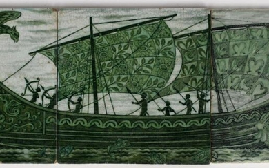 A William De Morgan Late Fulham Period Galleon three tile panel, painted in shades of green with a classical long ship sailing on a calm sea, a large eagle bird attacking from the stern side and being repelled by archers, another vessel sailing on the...