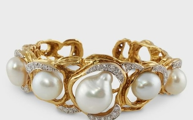 A baroque cultured South Sea pearl, diamond, and