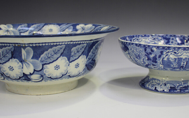 A blue printed pearlware circular bowl with everted rim, early 19th century, decorated in the Boy Pi
