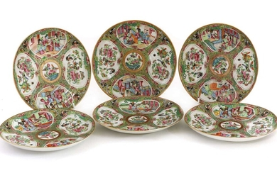 A collection of six Chinese Canton famille rose plates