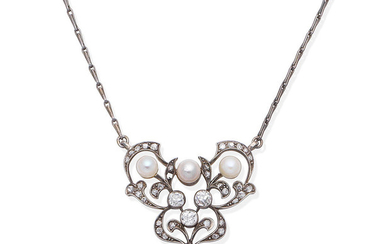 A cultured pearl and diamond pendant,