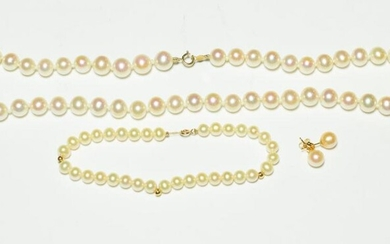 A cultured pearl necklace, length 47cm; a cultured pearl bracelet,...