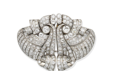 A diamond double-clip brooch, circa 1930