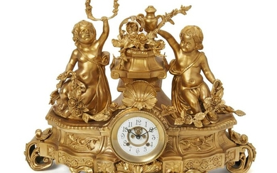 A gilt spelter clock