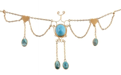 A gold and turquoise fringe necklace by Natalia Josca