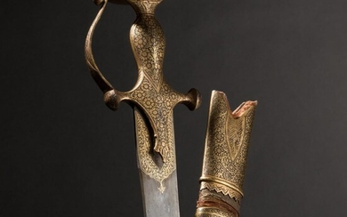 A gold-inlaid Indian tulwar with single-edged blade of fine, grained wootz-Damascus steel, 1st half of the 19th century