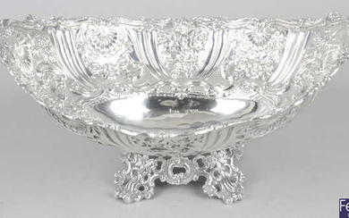 A late Victorian silver embossed fruit dish.