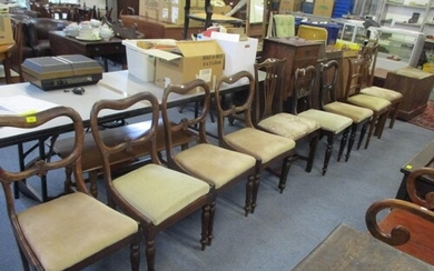 A matched set of six William IV kidney back chairs with turn...
