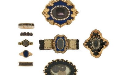 A mixed group of antique mourning jewellery, including...