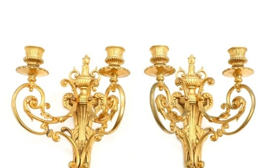 A pair of French 19th century gilt bronze Louis XVI style wall sconces. H. 34...