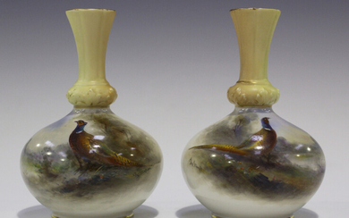 A pair of Royal Worcester porcelain vases, circa 1903 and 1907, painted by Jas. Stinton, signed, the