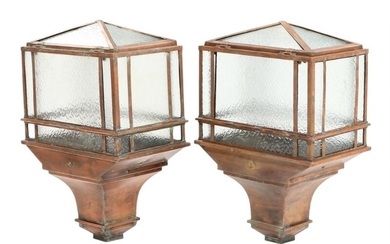 A pair of early 20th century English patinated copper steet lamps with frosted glass sides. H. 80. W. 51. D. 32 cm. (2)