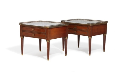 A pair of early 20th century Louis XVI style brass mounted mahogany side tables. H. 59. L. 72. W. 57 cm. (2)